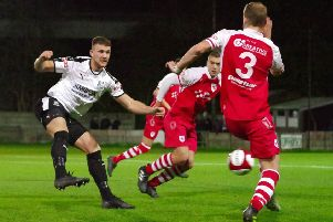 Brad Carsley in action for Bamber Bridge earlier in the season against Colne. PHOTO: Ruth Hornby
