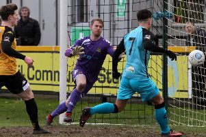 Alex Newby finds the back of the net at Haig Avenue