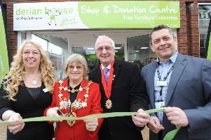 Shop manager Shirley Parkinson, Mayor of Chorley Margaret Lees, consort Roy Lees and chief executive David Robinson