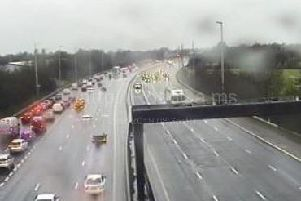 M6 southbound lane closures are in place between junctions 33 (Lancaster) and 32 (Broughton, M55) due to severe flooding.