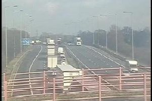 Traffic backing up to Charnock Richard Services