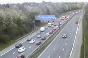 A lane is blocked on the M61 northbound exit slip road at junction 9 in Brindle after a two-vehicle collision at 7.35am on Monday, April 1.