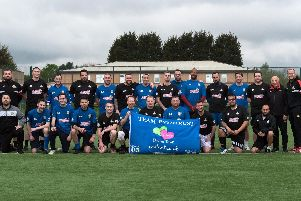 The players who are taking part in  training at Astrea Academy Woodfield for the Legends fundraising football match, which will raise money for the Eve Merton Dreams Trust. Picture: Andrew Kelly Photography