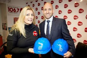 Kath Lord Green, from Ribble FM, with Andrew Taylor, from David Wilson Homes
