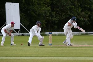 Denby's Wesley Coulentianos flicks a ball from Connor Marshall to the fine leg boundary.