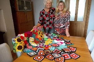 Iris Smith and Kay Carson with  a Bloom creation