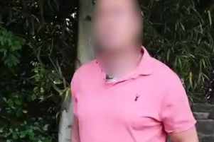The 46-year-old man, from Leyland, is confronted by 'paedophile hunters' after allegedly agreeing to meet a 12-year-old girl in Lancaster yesterday (July 7). Credit: North West Hebephile Hunters