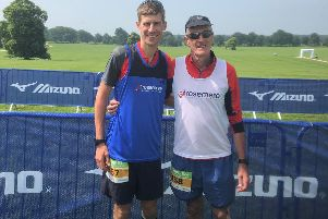 Mike, 67, and Dean Thompson, 34, completed the Mizuno 24 North Ultra Marathon for Rosemere Cancer Foundation