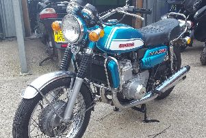 The Suzuki motorbike bought by Christopher Beddall, which firm says was paid for by his fraud