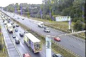 A five-car crash on the M6 northbound at 11.30am this morning (August 19) has led to a 14-mile tailback between Standish and Preston this afternoon