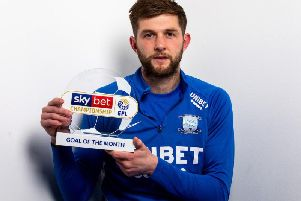 Preston's Tom Barkhuizen with the Championship goal of the month award