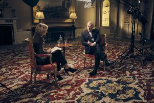 Duke of York , speaking for the first time about his links to Jeffrey Epstein in an interview with BBC Newsnight's Emily Maitlis. PA Photo.: Mark Harrison/BBC/PA Wir