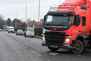 A wagon does a U-turn after finding Liverpool Road is blocked to traffic.