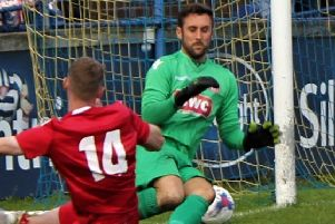 Longridge Town's Lee Dovey made a crucial save against Skelmersdale