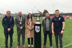Workmates from across South Ribble and the Ribble Valley are being urged to team up for a historic charity football tournament coming to the county in April. Pictured are: John Treacy, Stuart Chaplin, Deborah Blades, Kevin Gallacher and Iain Mackie during the Orphanage Cup relaunch