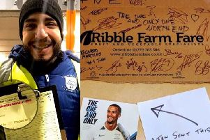 Ribble Farm Fare worker Ricardo Martins was astonished to get a special signed box from PNE players