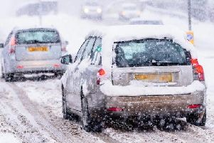 Roads in Derbyshire are affected by snow this morning