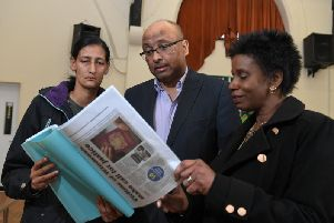 Preston group co-founders Glenda Andrew and Sekeena Kydd with MP Sir Mark Hendrick