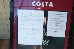 A sign was posted in the Costa Coffee branch at Blackpool Victoria Hospital, telling medics they will no longer get free drinks