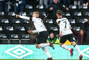 9th February 2019, Pride Park, Derby, England; EFL Championship football, Derby Country versus Hull City; Martyn Waghorn of Derby County runs to celebrate his goal in the 41st minute to make it 1-0 (photo by Lee Parker/Action Plus via Getty Images)