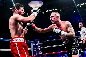 Reece MacMillan goes on the attack against Lee Connelly. Picture: Kevin Gilbo/Eat Sleep Boxing Repeat