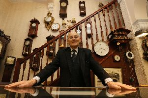 Norman Oldfield in his jeweller's shop in Lune Street before he retired in December 2017