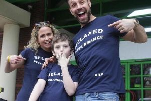 Star Jason Gardiner, Maria and Ryan Cook promoting the Relaxed Performance campaign. Photo credit: Crawley News 24