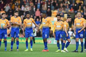 Picture by Howard Roe/AHPIX.com;Football;Skybet; Play Off Semi Final;'Mansfield Town v Newport County'12/5/2019  KO 6.00pm; One Call Stadium;'copyright picture;Howard Roe;07973 739229''Stag's after the penalty shoot out