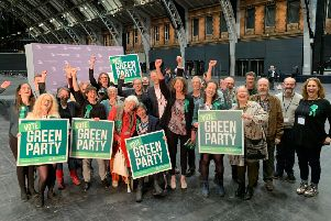 The Greens - with Gina Dowding in the centre - celebrate at the EU election count.