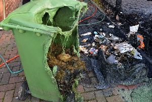 Stock picture of a wheelie bin fire as figures show some Sunderland neighbourhoods have been hit with a spike in fires of up to 158%