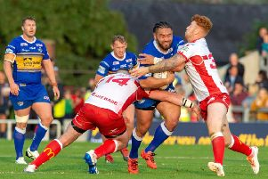 PRESSURE: Leeds Rhinos' Konrad Hurrell is held by Mitch Garbutt and Harvey Livett in last weekend's 32-16 loss at home to relegation rivals Hull KR.