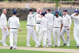 Cleckheaton players celebrate taking a wicket during their Bradford Premier League victory away to Lightcliffe last Saturday, which has helped them climb to fifth in the table. Picture: Bruce Fitzgerald