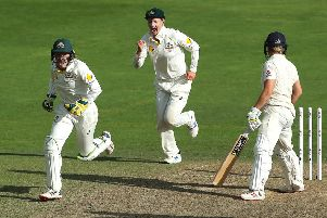 Outplayed: Australia wicketkeeper Alyssa Healy celebrates after England's Katherine Brunt is bowled by Ashleigh Gardner during day three of the Women's Ashes Test.