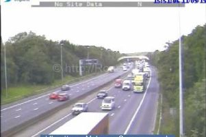 Motorway footage of the slow moving traffic.