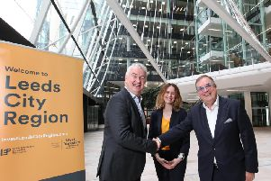 Left to right: Anthony OKeeffe, Chief Executive Officer, Link Group, Eve Roodhouse, Chief Officer, Economic Development, Leeds City Council and Roger Marsh, OBE Chair of the Leeds City Region Enterprise Partnership and NP11