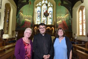 St Cuthbert's curate Rev Adam Thomas with visitors, Sally Aspinall, left, and Jill Thomson,