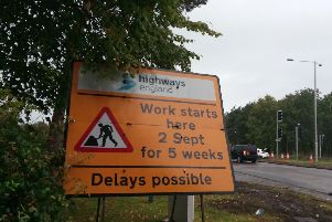 Signage indicating the works at the M55 junction 3 roundabout at Wesham