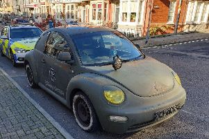 Lancashire Police seized the car in Albert Road, Blackpool for a number of offences after its decals honouring German WW2-era military police - Feldjgerkorps - drew the attention of passing officers