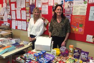 Alison Beeby and Sali Windsor at the card and chocolate tombola stalls at a coffee morning held by tthe Lytham St Annes Friends of Trinity Hospice at Fairhaven Methodist Church