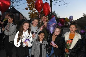 Friends and family release balloons to celebrate what would have been Rosie Darbyshire's 28th birthday