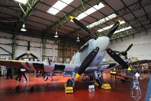 The Lytham St Annes Spitfire team visitor centre at Blackpool Airport's Hangar 42