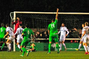 Jim Bentley admits it was all hands to the pumps at times for AFC Fylde at Nantwich Picture: STEVE MCLELLAN