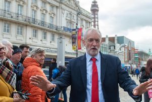 Labour Party leader Jeremy Corbyn speaks to the media in St John's Square in Blackpool during General Election campaigning (Picture: Joe Giddens/PA Wire)