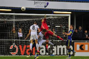 Fylde threaten the Solihull goal but gave themselves a mountain to climb  Picture: STEVE MCLELLAN