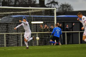 Mark Yeates celebrates his recall with his first Fylde goal  Picture: STEVE MCLELLAN