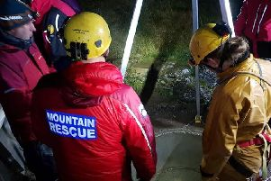 Cave rescue teams at Casterton Fell in the rescue mission on Saturday, in which a man was pronounced dead. Picture: Cave Rescue Organisation