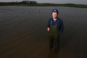 Farmer Tom Pemberton from Birks Farm which has 25 per cent of land under water due to floods