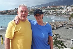 David Nowell and partner Karen in Tenerife before they were confined to apartment due to coronavirus
