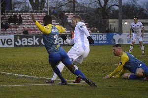 Danny Rowe opens the scoring for AFC Fylde at Solihull Moors     Picture: Steve McLellan
