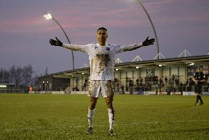 Alex Reid celebrates his winning penalty against Barnet Picture: STEVE MCLELLAN